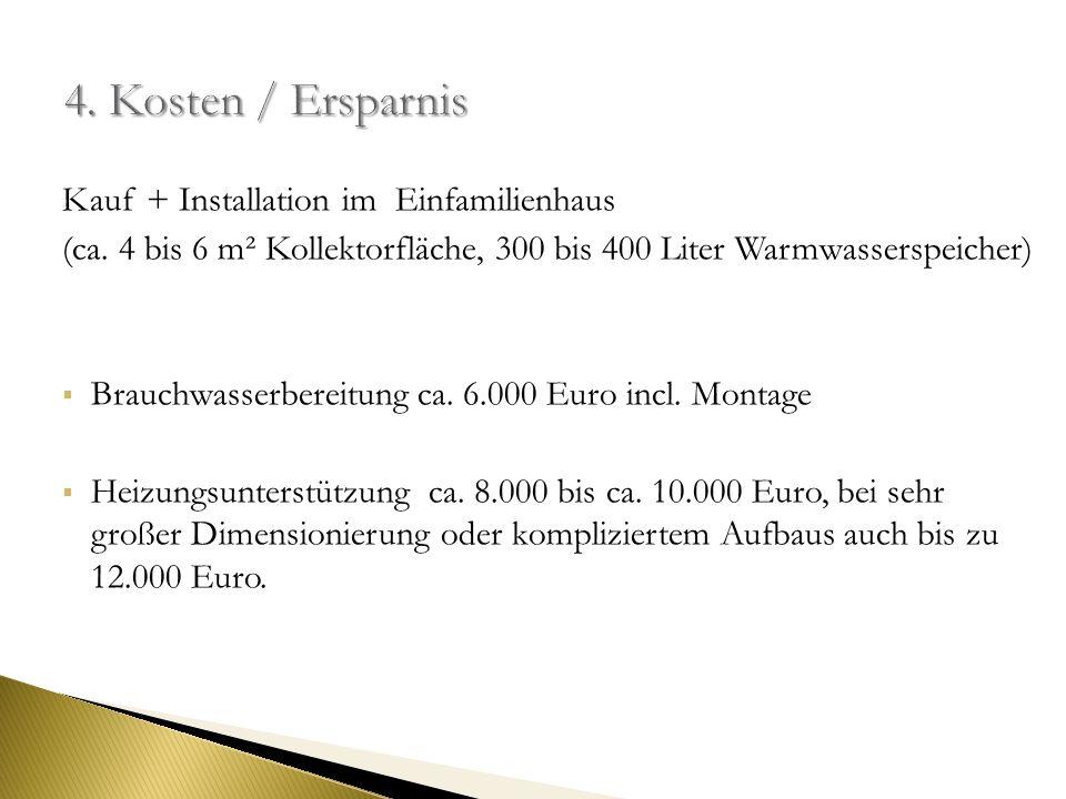 4. Kosten / Ersparnis Kauf + Installation im Einfamilienhaus