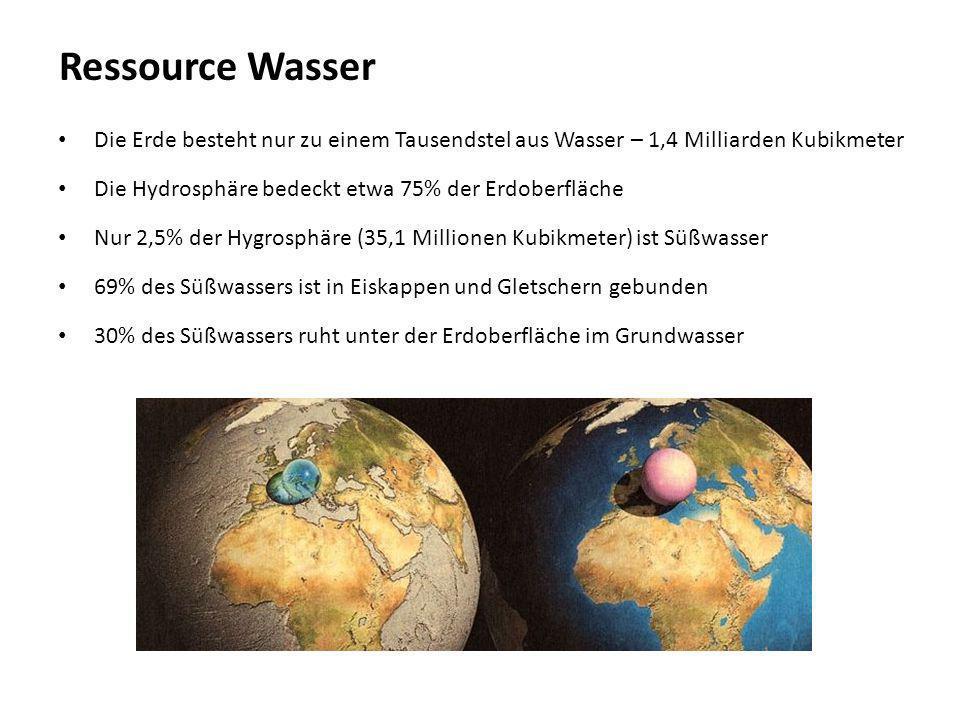 Ressource Wasser Die Erde besteht nur zu einem Tausendstel aus Wasser – 1,4 Milliarden Kubikmeter.