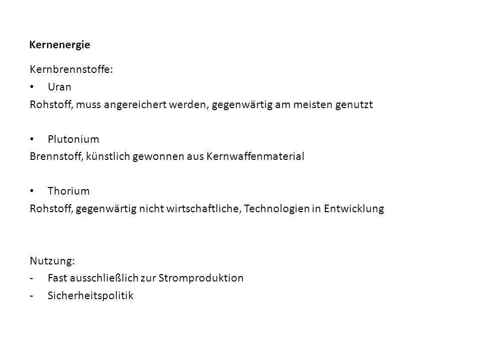 Kernenergie Kernbrennstoffe: Uran. Rohstoff, muss angereichert werden, gegenwärtig am meisten genutzt.