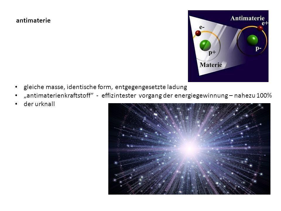 antimaterie gleiche masse, identische form, entgegengesetzte ladung.