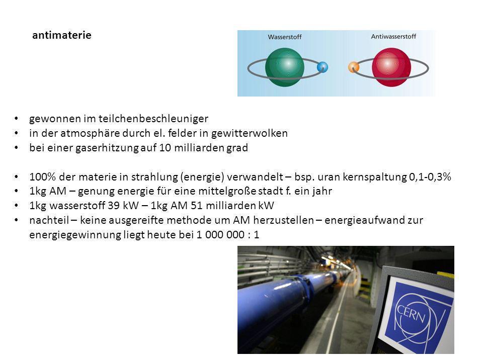 antimaterie gewonnen im teilchenbeschleuniger. in der atmosphäre durch el. felder in gewitterwolken.
