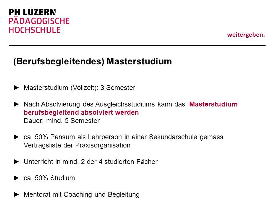 (Berufsbegleitendes) Masterstudium