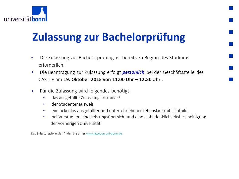 Zulassung zur Bachelorprüfung