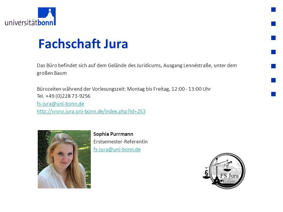 Fachschaft Jura Das Büro befindet sich auf dem Gelände des Juridicums, Ausgang Lennéstraße, unter dem großen Baum.