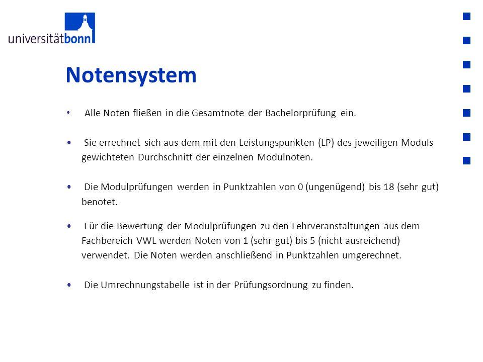 Notensystem Alle Noten fließen in die Gesamtnote der Bachelorprüfung ein.