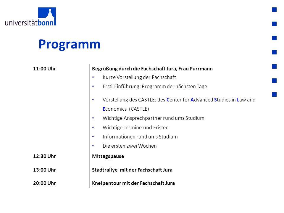 Programm 11:00 Uhr Begrüßung durch die Fachschaft Jura, Frau Purrmann
