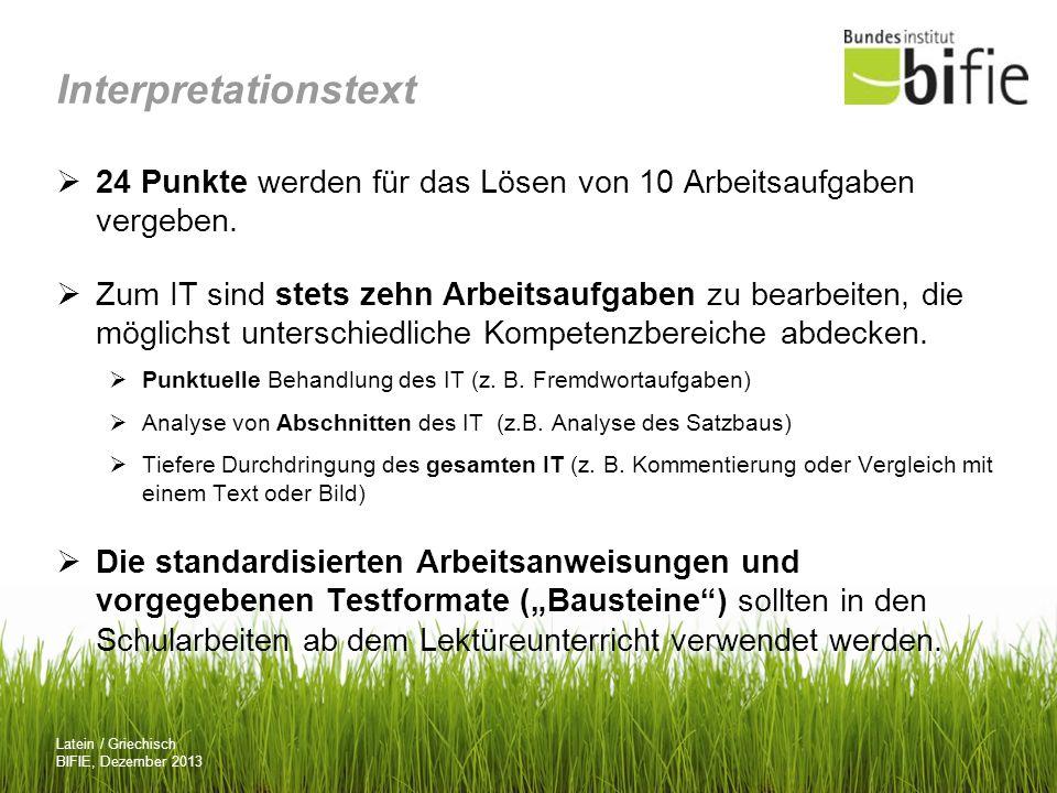 Interpretationstext 24 Punkte werden für das Lösen von 10 Arbeitsaufgaben vergeben.