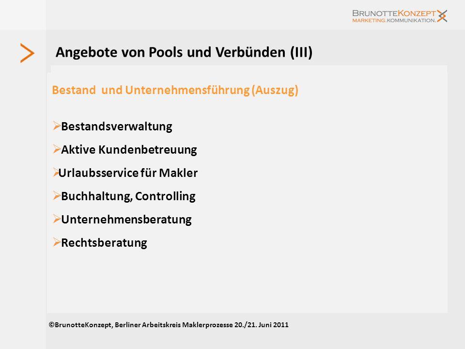 Angebote von Pools und Verbünden (III)