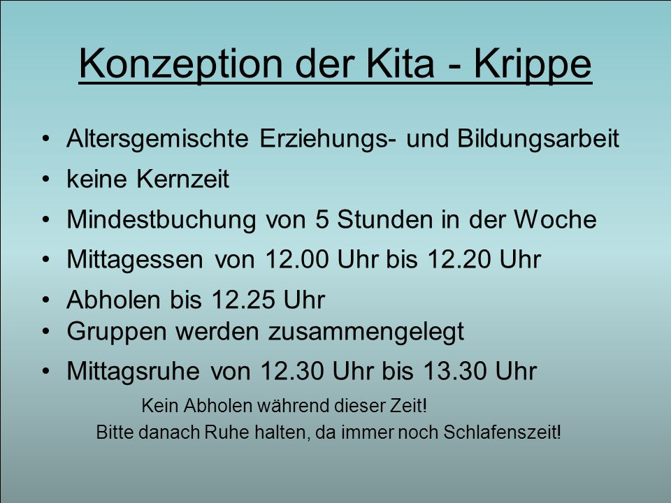 Konzeption der Kita - Krippe