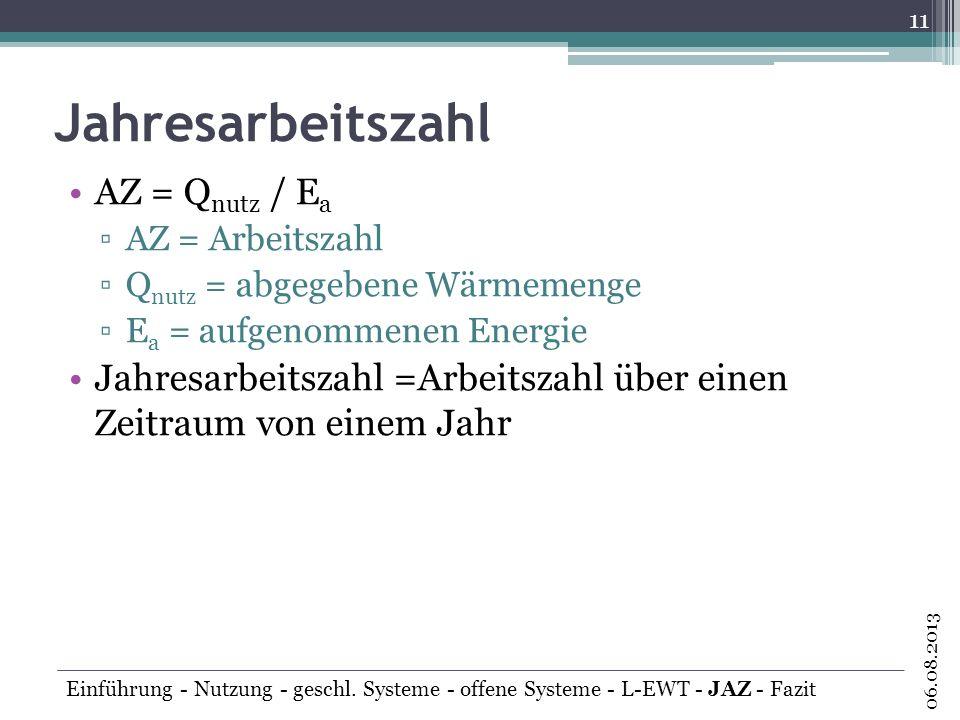 Jahresarbeitszahl AZ = Qnutz / Ea