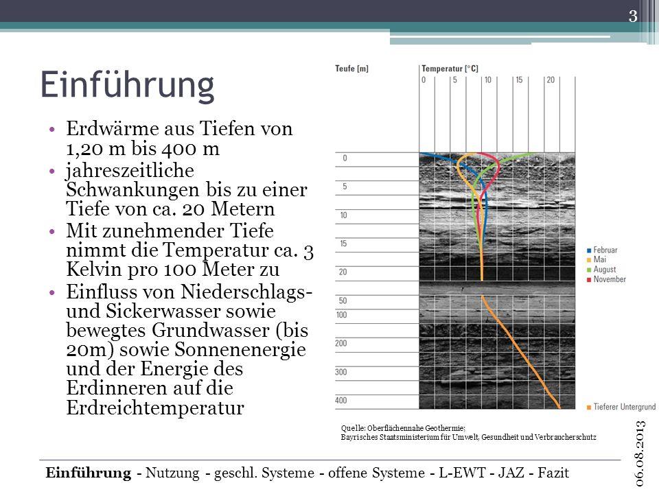 Einführung Erdwärme aus Tiefen von 1,20 m bis 400 m