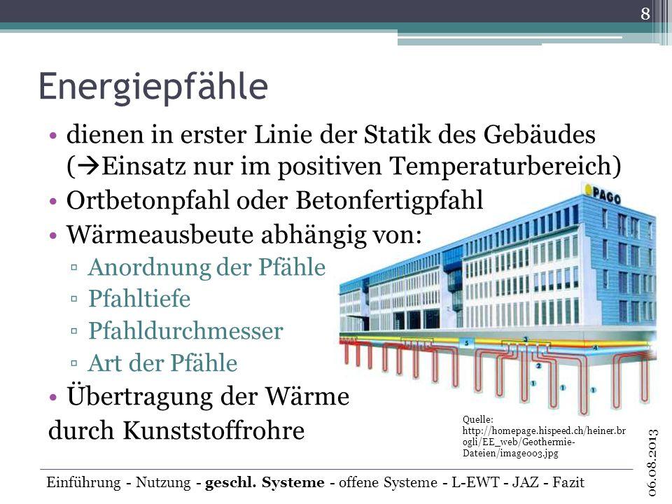 Energiepfähle dienen in erster Linie der Statik des Gebäudes (Einsatz nur im positiven Temperaturbereich)