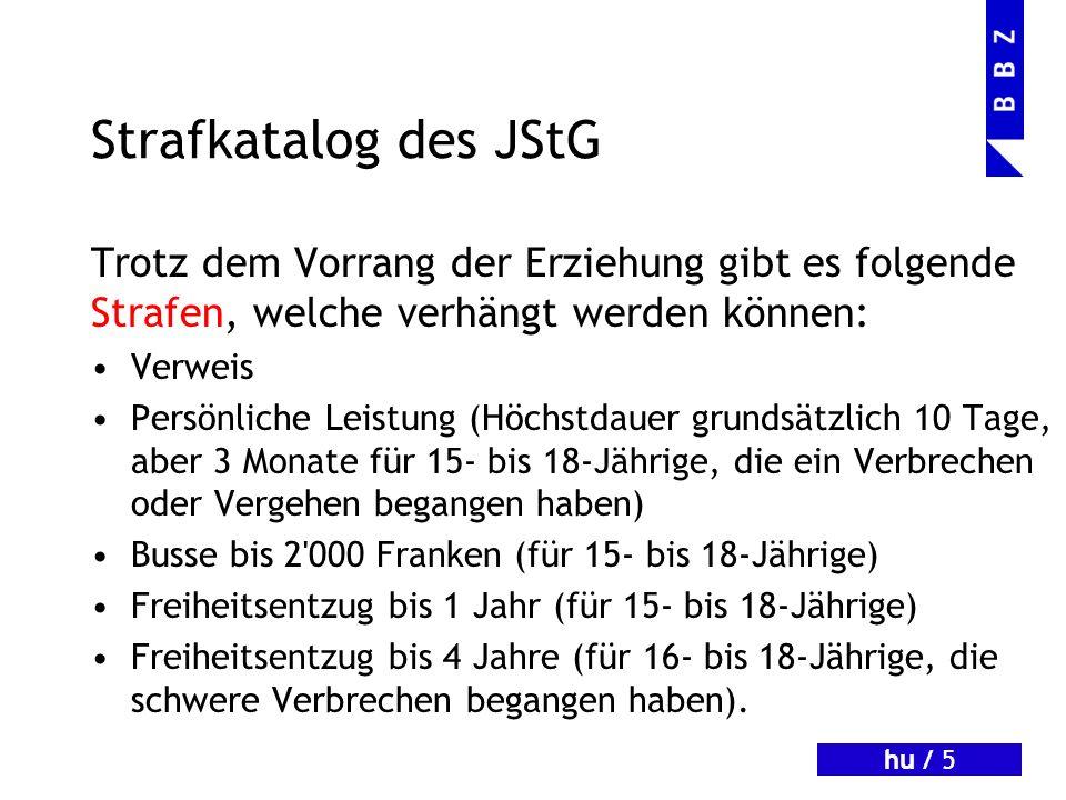 Strafkatalog des JStGTrotz dem Vorrang der Erziehung gibt es folgende Strafen, welche verhängt werden können: