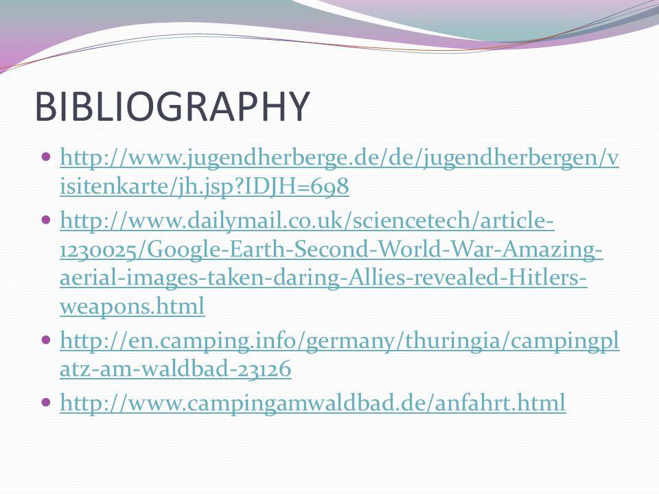BIBLIOGRAPHY http://www.jugendherberge.de/de/jugendherbergen/visitenkarte/jh.jsp IDJH=698.