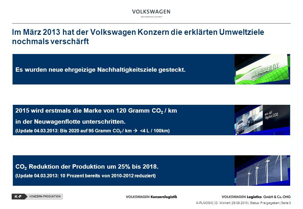 Im März 2013 hat der Volkswagen Konzern die erklärten Umweltziele nochmals verschärft