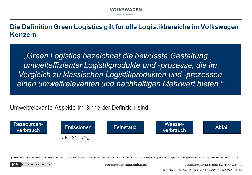 green logistics aktivit ten im volkswagen konzern ppt herunterladen. Black Bedroom Furniture Sets. Home Design Ideas