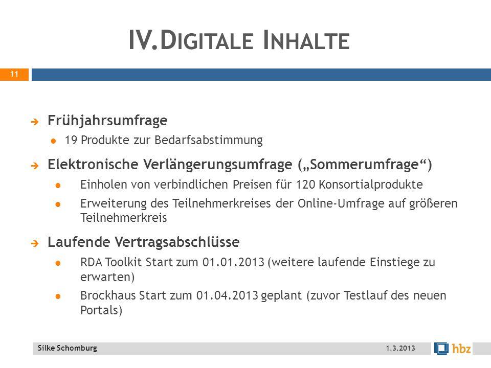 IV.Digitale Inhalte Frühjahrsumfrage