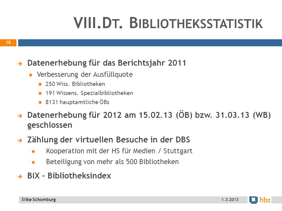 VIII.Dt. Bibliotheksstatistik