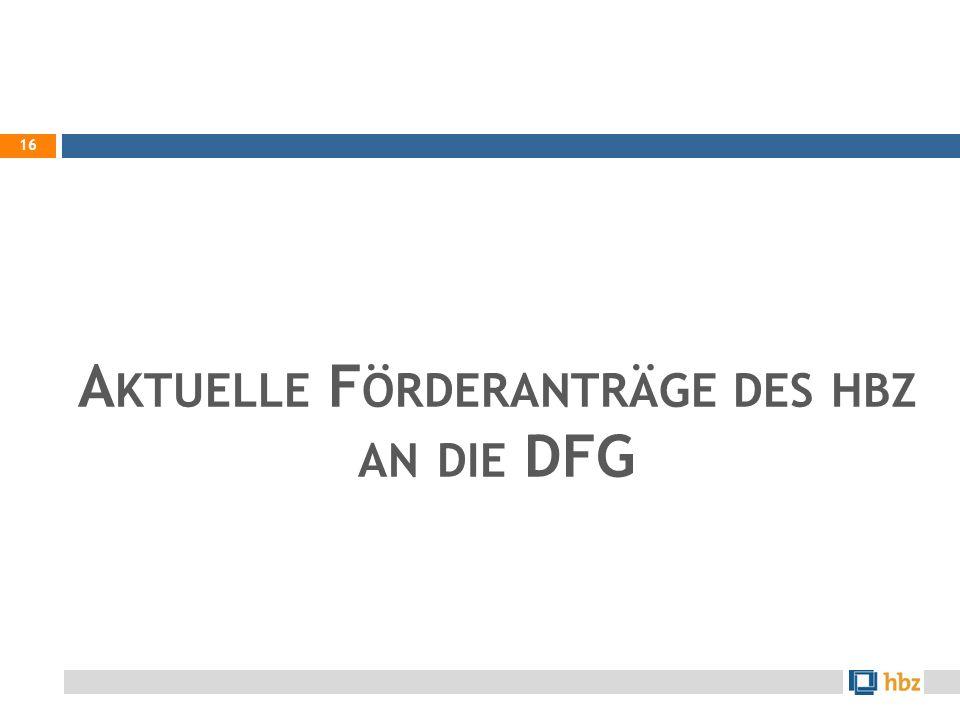 Aktuelle Förderanträge des hbz an die DFG