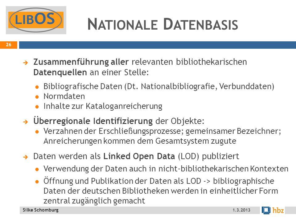 Nationale Datenbasis Zusammenführung aller relevanten bibliothekarischen Datenquellen an einer Stelle: