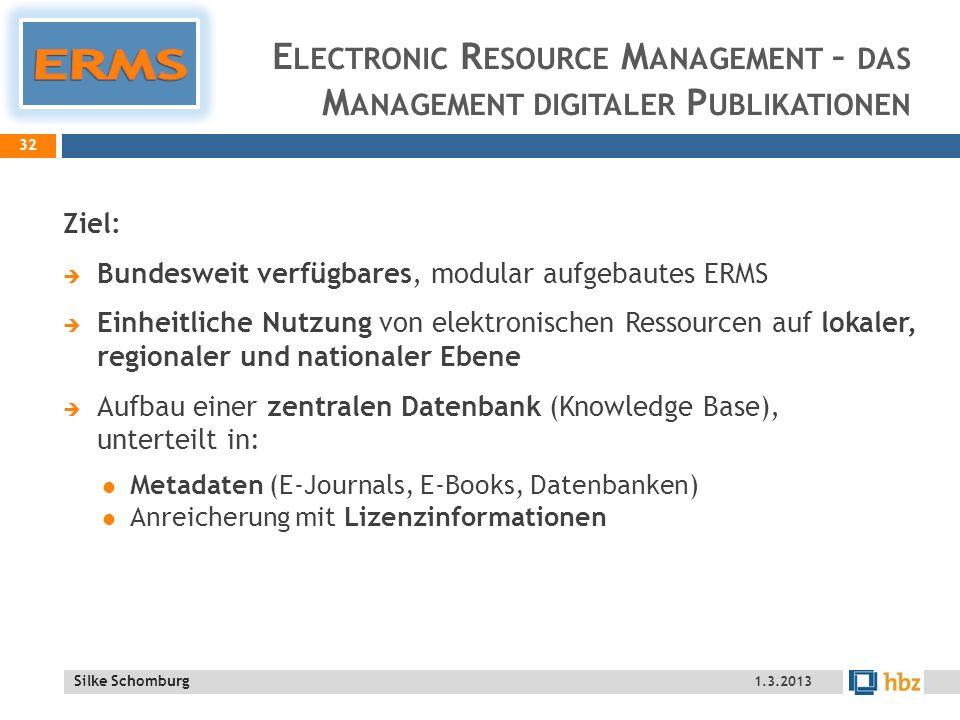 ERMS Electronic Resource Management – das Management digitaler Publikationen. Ziel: Bundesweit verfügbares, modular aufgebautes ERMS.