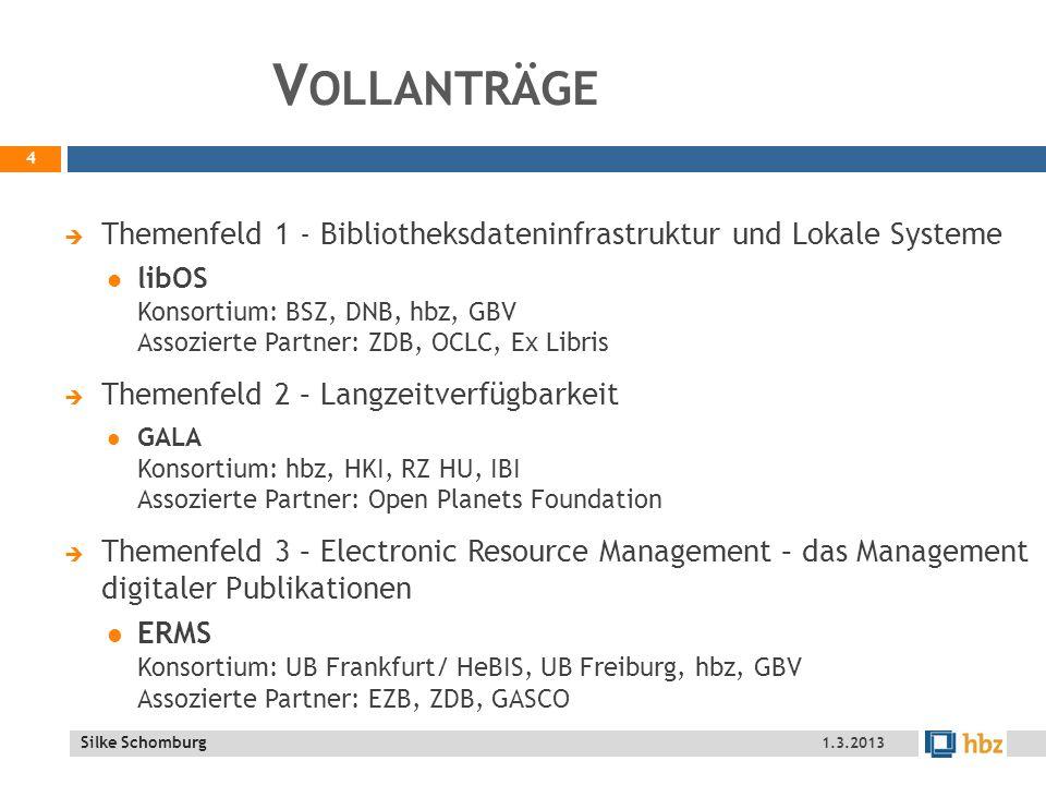 Vollanträge Themenfeld 1 - Bibliotheksdateninfrastruktur und Lokale Systeme.