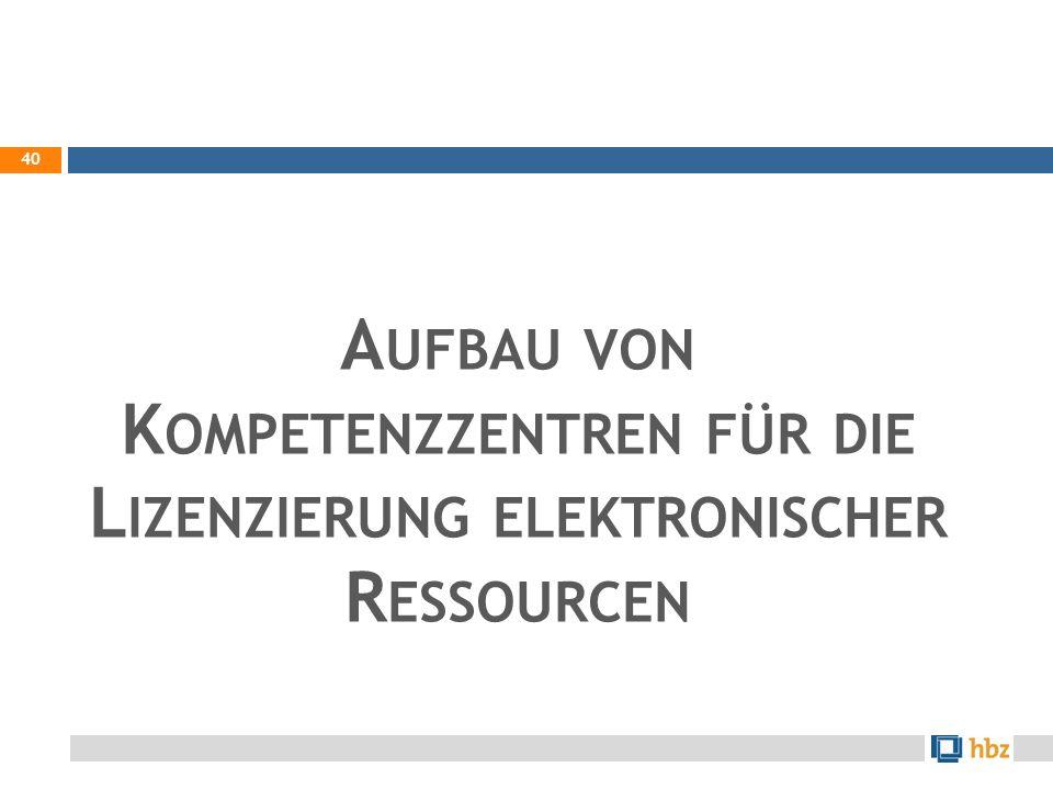 Aufbau von Kompetenzzentren für die Lizenzierung elektronischer Ressourcen