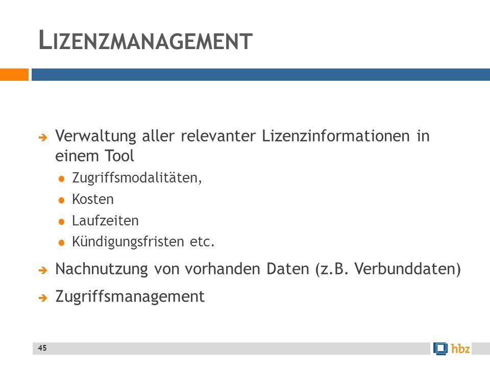 Lizenzmanagement Verwaltung aller relevanter Lizenzinformationen in einem Tool. Zugriffsmodalitäten,