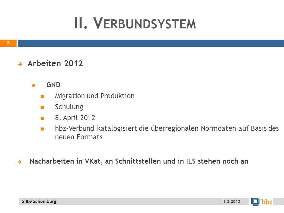 II. Verbundsystem Arbeiten 2012 GND Migration und Produktion Schulung