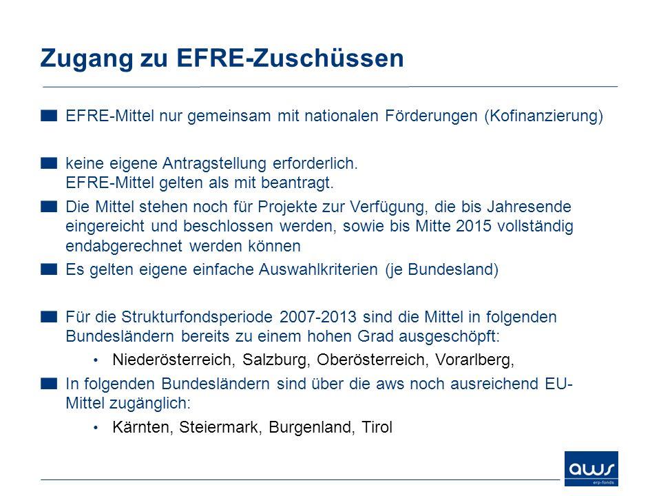 Zugang zu EFRE-Zuschüssen