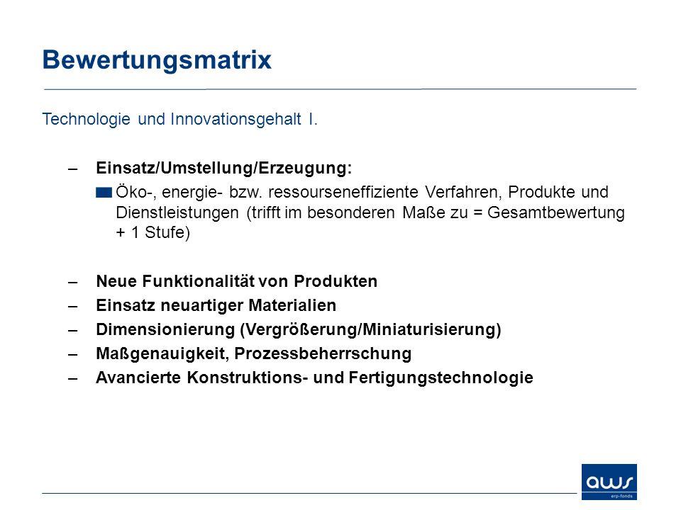 Bewertungsmatrix Technologie und Innovationsgehalt I.