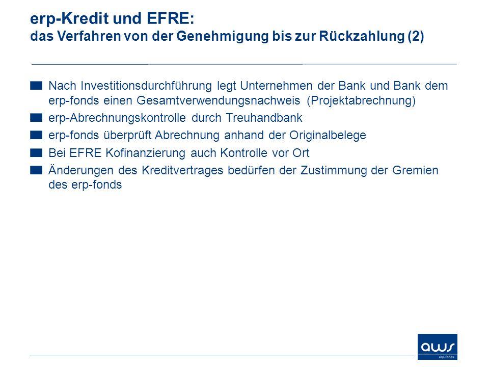 erp-Kredit und EFRE: das Verfahren von der Genehmigung bis zur Rückzahlung (2)