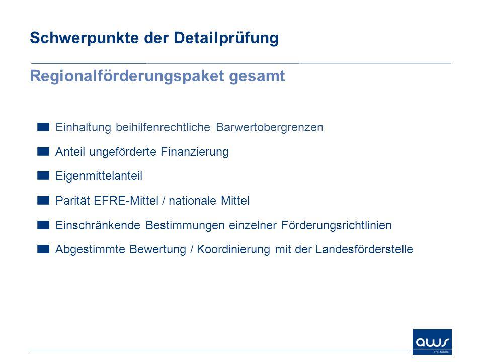 Schwerpunkte der Detailprüfung Regionalförderungspaket gesamt