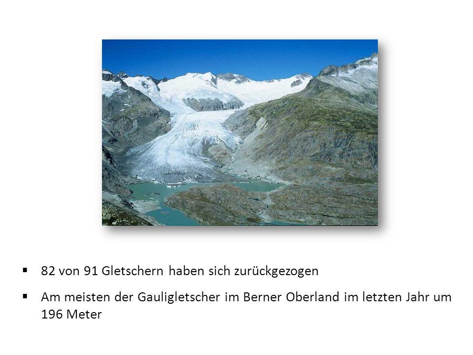 82 von 91 Gletschern haben sich zurückgezogen