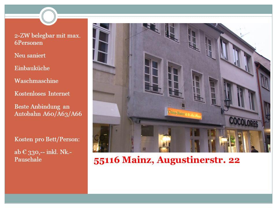 55116 Mainz, Augustinerstr. 22 2-ZW belegbar mit max. 6Personen