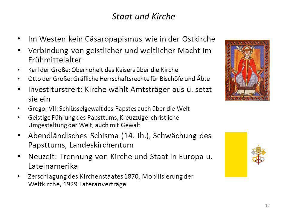 Staat und Kirche Im Westen kein Cäsaropapismus wie in der Ostkirche