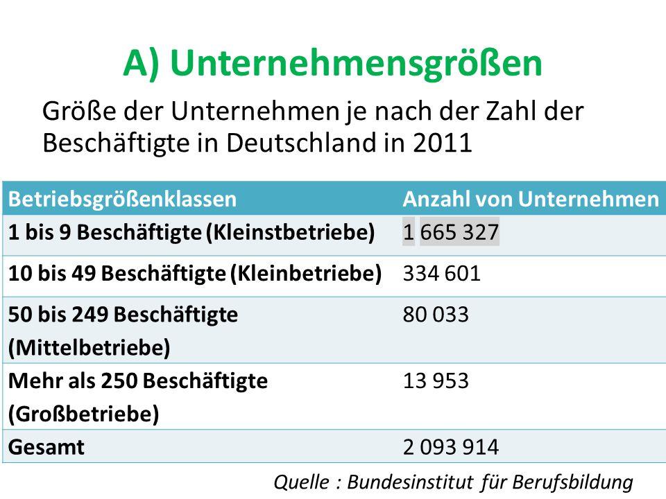 A) Unternehmensgrößen