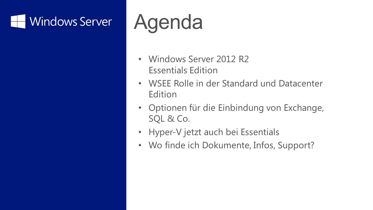 Agenda Windows Server 2012 R2 Essentials Edition
