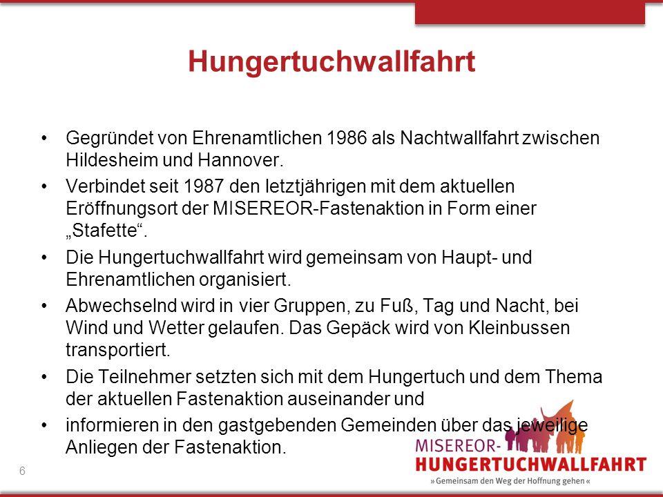 Hungertuchwallfahrt Gegründet von Ehrenamtlichen 1986 als Nachtwallfahrt zwischen Hildesheim und Hannover.