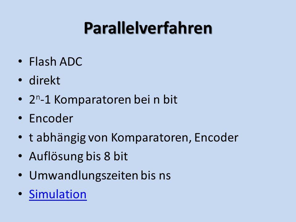Parallelverfahren Flash ADC direkt 2n-1 Komparatoren bei n bit Encoder