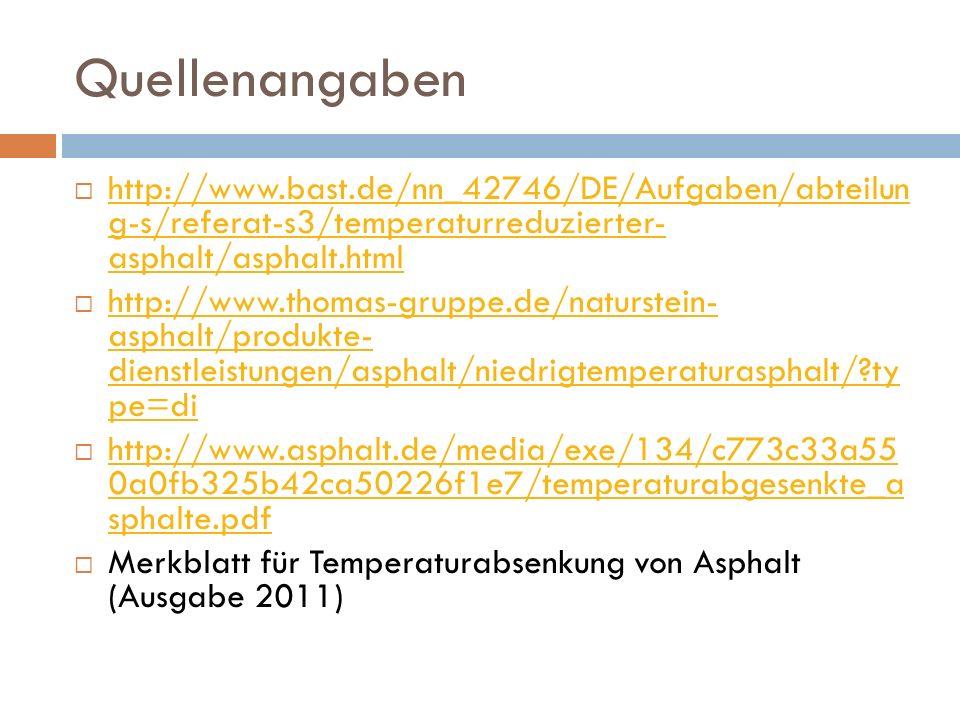 Quellenangaben http://www.bast.de/nn_42746/DE/Aufgaben/abteilun g-s/referat-s3/temperaturreduzierter- asphalt/asphalt.html.