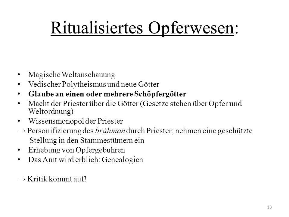 Ritualisiertes Opferwesen: