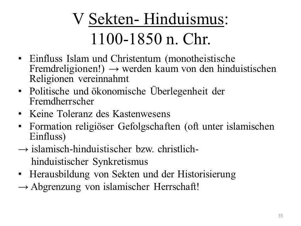 V Sekten- Hinduismus: 1100-1850 n. Chr.