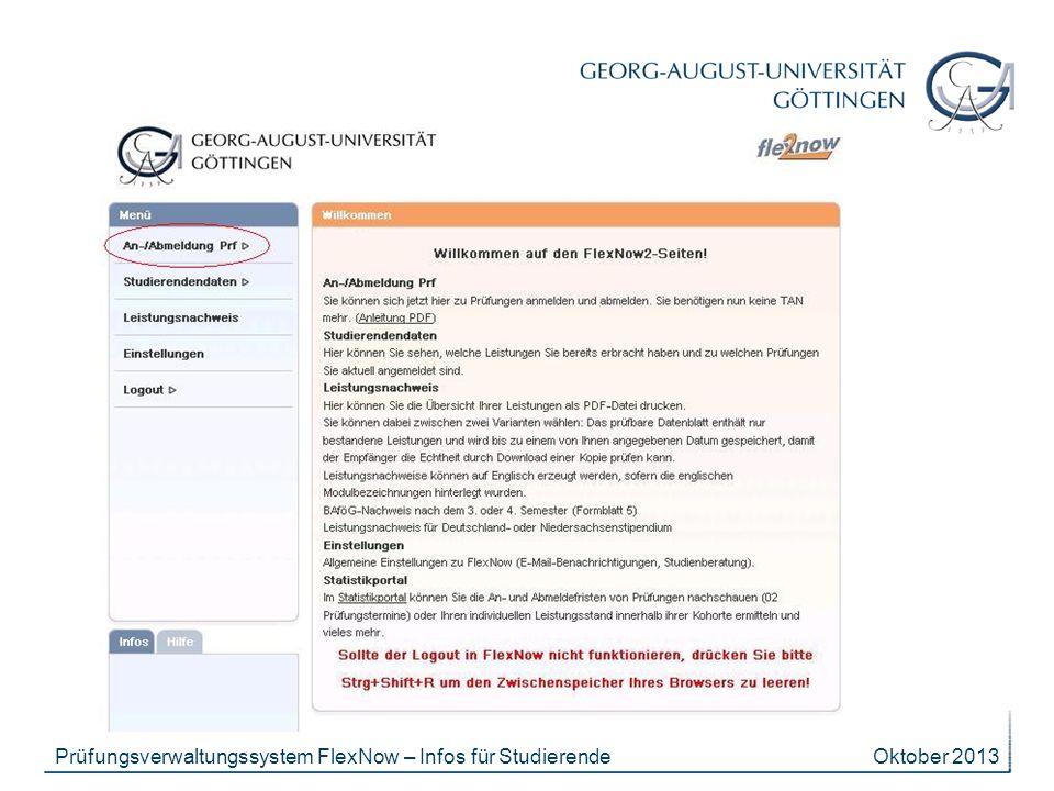 Prüfungsverwaltungssystem FlexNow – Infos für Studierende