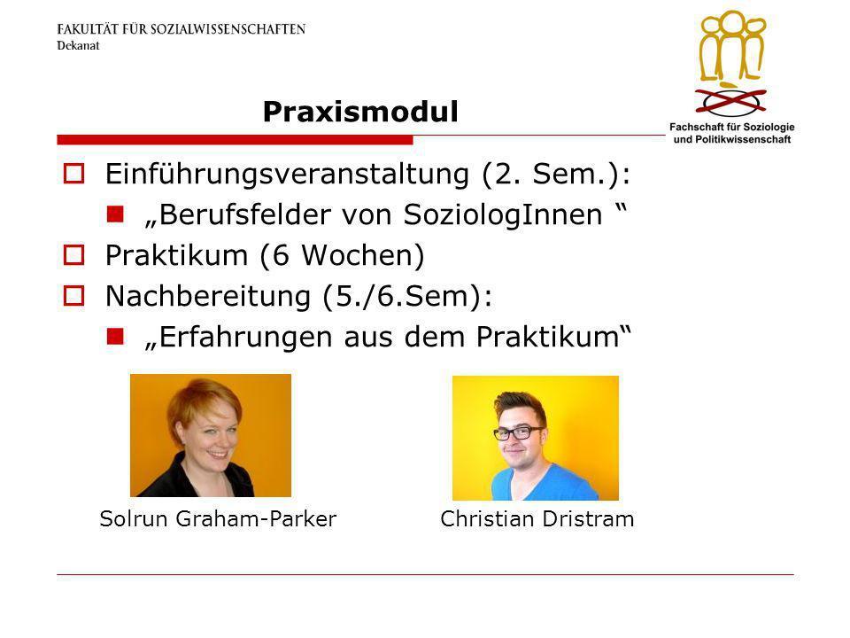 """Einführungsveranstaltung (2. Sem.): """"Berufsfelder von SoziologInnen"""