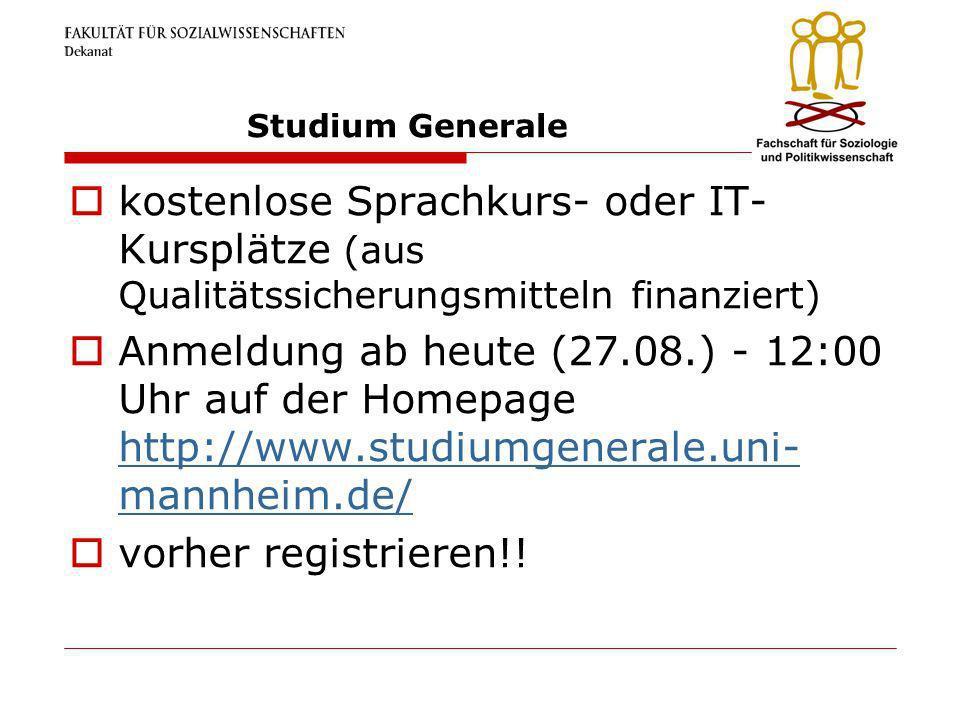 Studium Generale kostenlose Sprachkurs- oder IT-Kursplätze (aus Qualitätssicherungsmitteln finanziert)