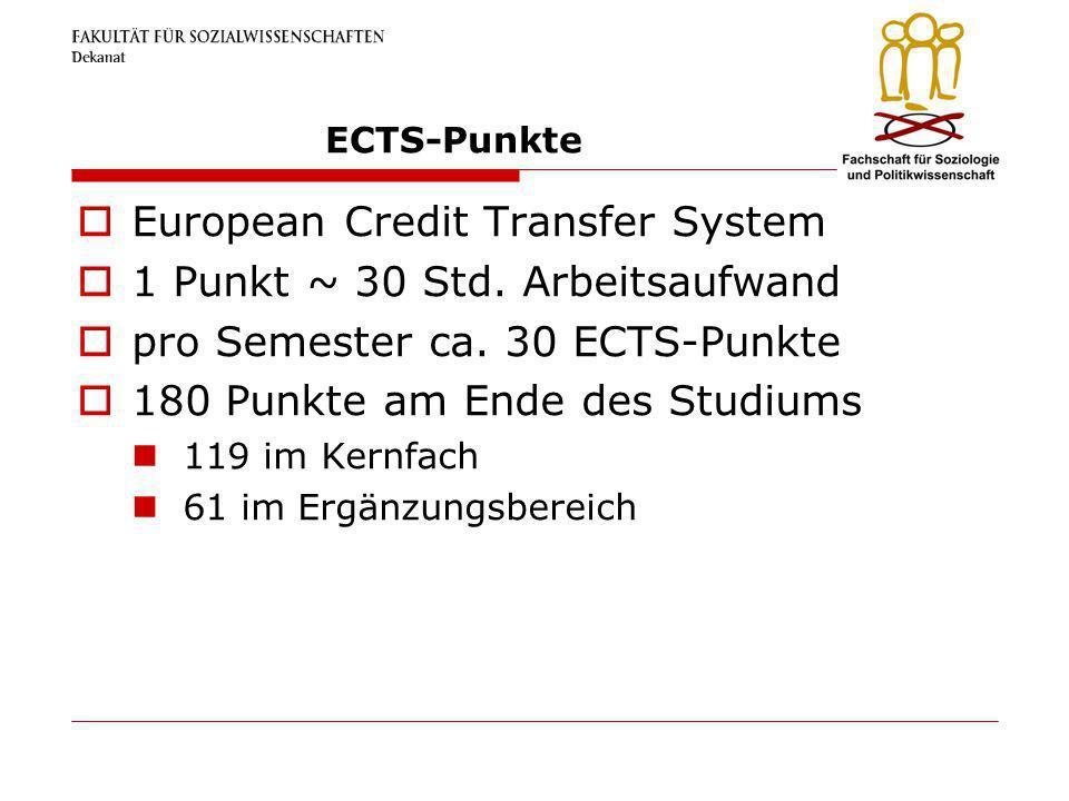European Credit Transfer System 1 Punkt ~ 30 Std. Arbeitsaufwand