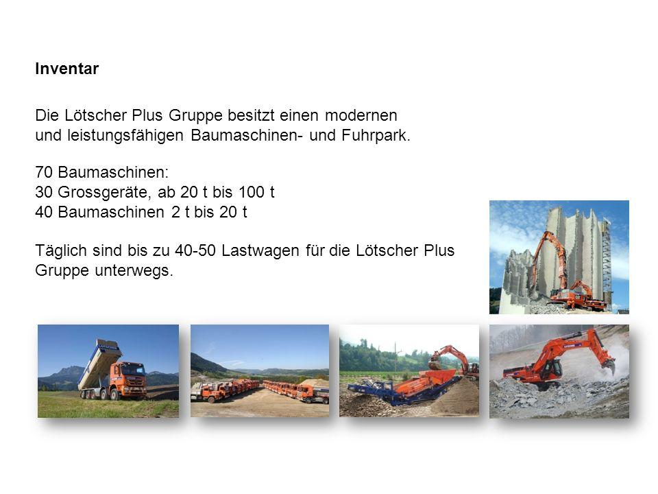 Inventar Die Lötscher Plus Gruppe besitzt einen modernen und leistungsfähigen Baumaschinen- und Fuhrpark.
