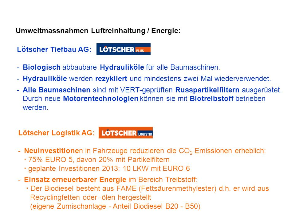 Umweltmassnahmen Luftreinhaltung / Energie: