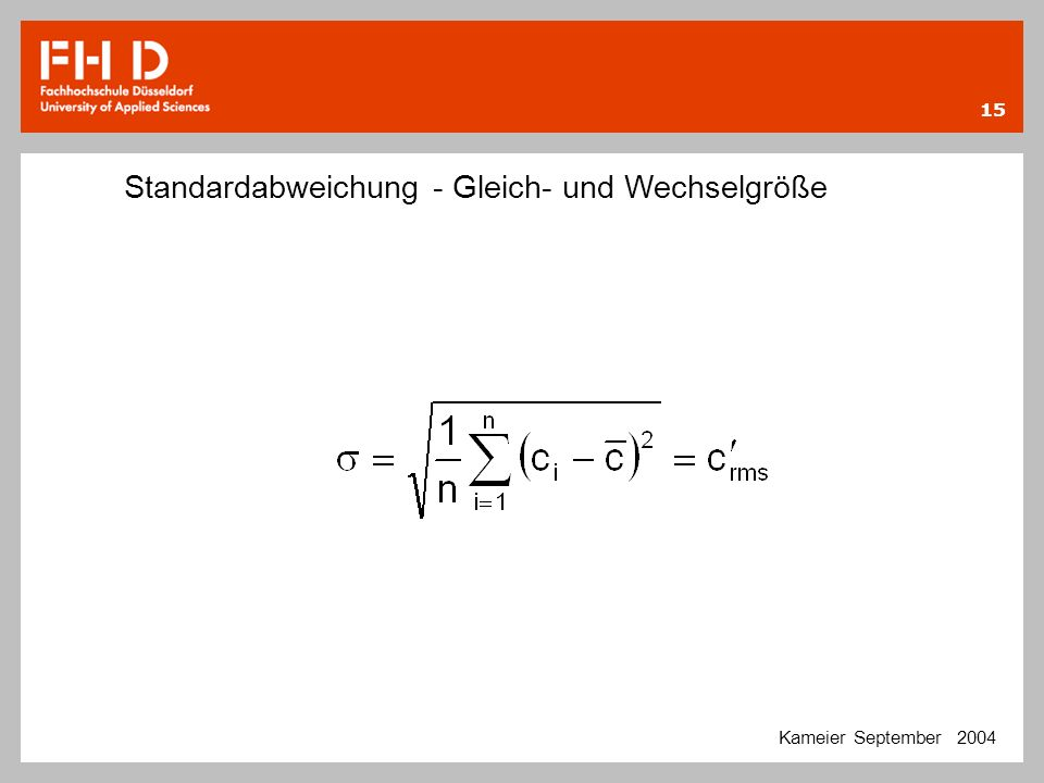 Standardabweichung - Gleich- und Wechselgröße